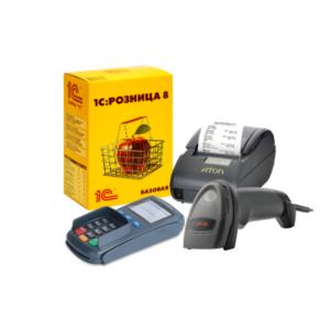 Фискальный регистратор Атол 30 + 1С:Розница 8 + сканер Атол SB2108 Plus + Пин-пад PAX SP30