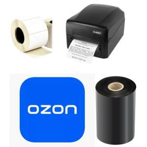 Комплект для маркировки OZON: GoDEX GE300U + этикет-лента 75х120 полуглянец + красящая лента