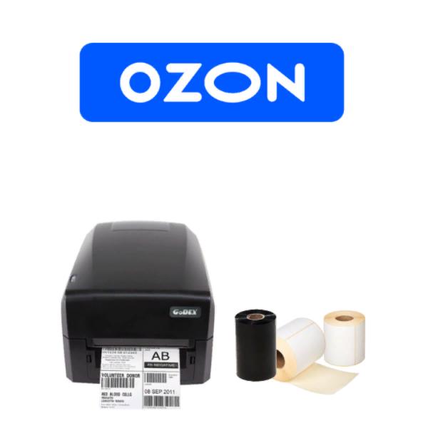 Комплект для маркировки OZON: Принтер этикеток Godex GE300 U + этикет-лента + красящая лента