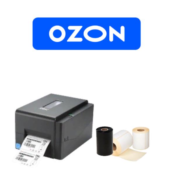 Комплект для маркировки OZON: Принтер этикеток Godex TSC TE200 U + этикет-лента + красящая лента
